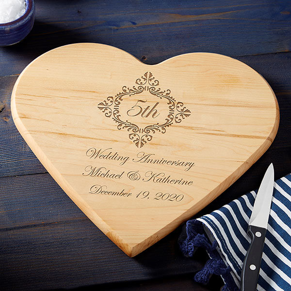 5th Anniversary Gift By Year - Engraved Cutting Board
