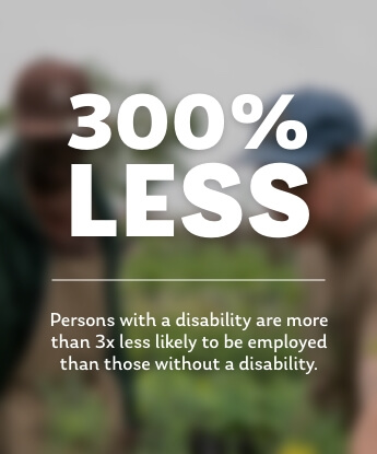 Persons with a disability are more than 3x less likely to be employed