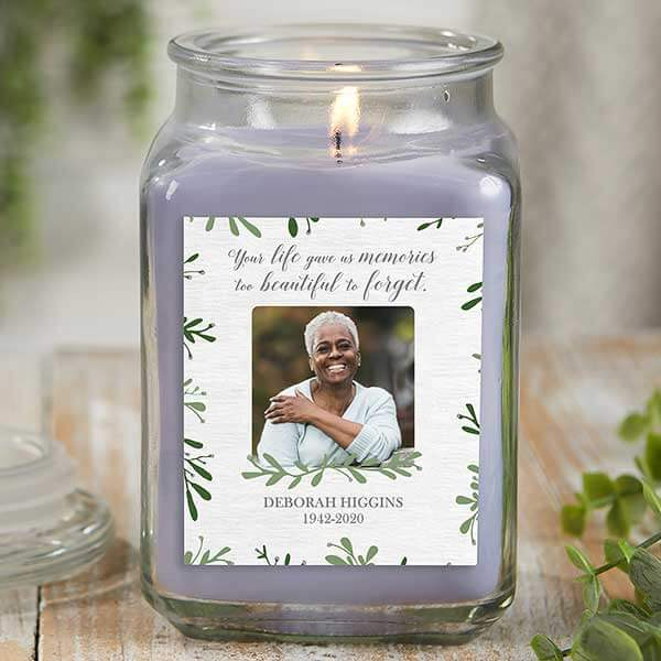 Botanical Photo Wedding Memorial Candle Jar