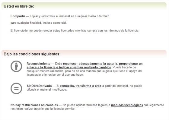 Creative Commons — Reconocimiento-SinObraDerivada 3.0