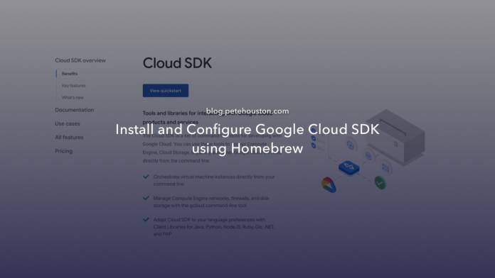 Install and configure Google Cloud SDK using Homebrew