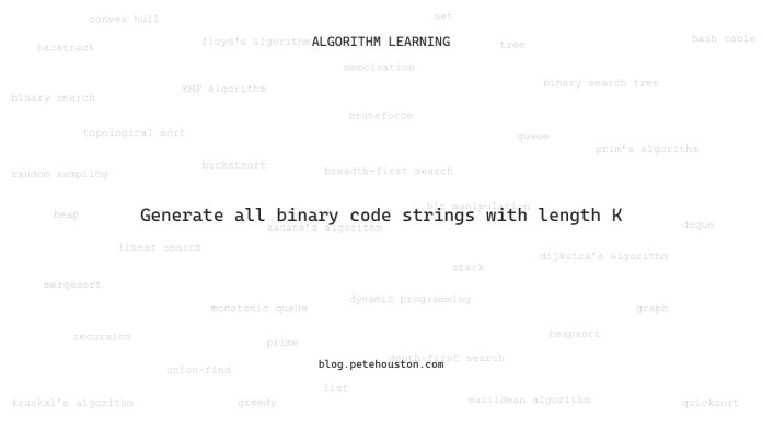 Generate all binary code string with length K