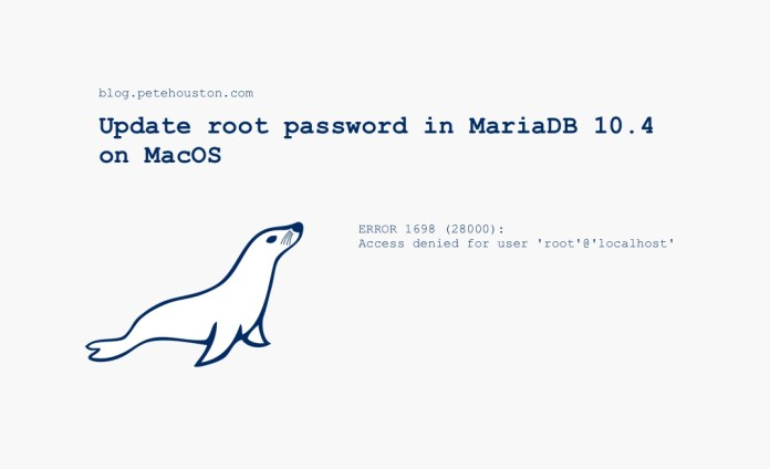 Update root password in MariaDB 10.4 on MacOS