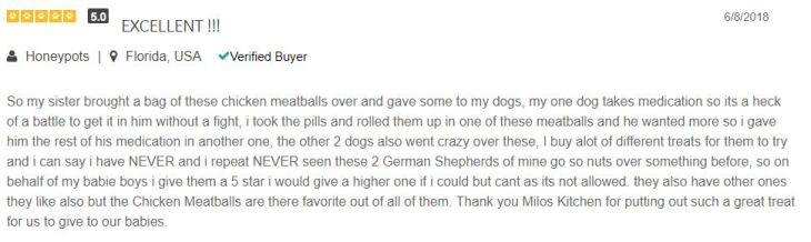 review from a PetFlow customer who buys Milo's Kitchen for their picky German Shepherds