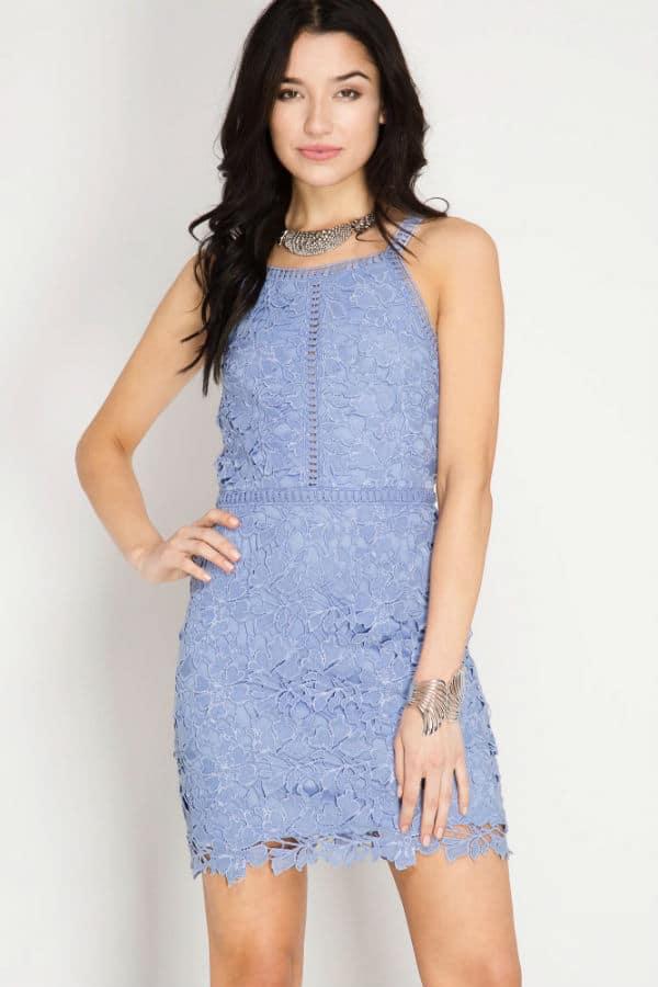 petite lace dress blue