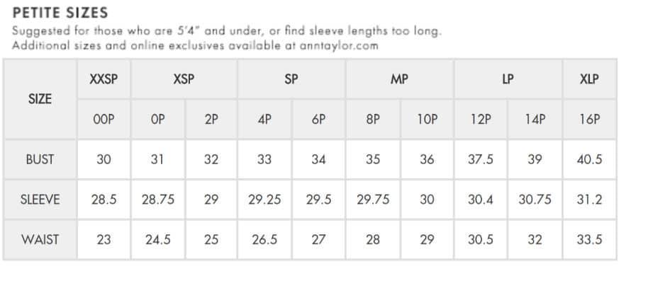 Petite dressing petite size chart