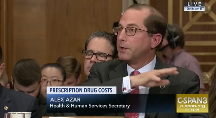 Screenshot of HHS secretary Alex Azar speaking on television