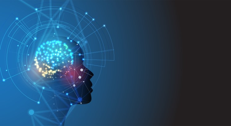 concept of artificial intelligence, human brain with machinery