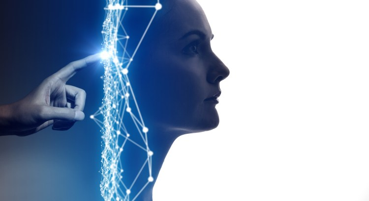 neural web and female face