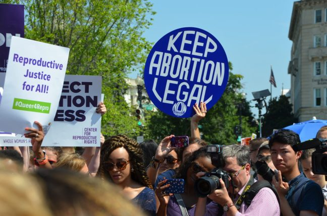Abortion rights protest following the Supreme Court decision for Whole Women's Health in 2016