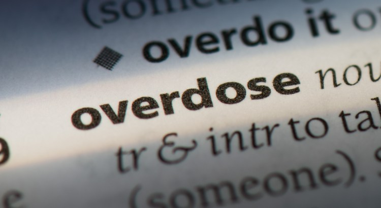 "Dictionary page zooming into the word ""overdose"""