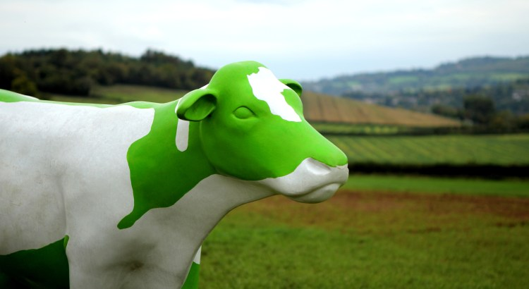 Photograph of a green cow statue in a field