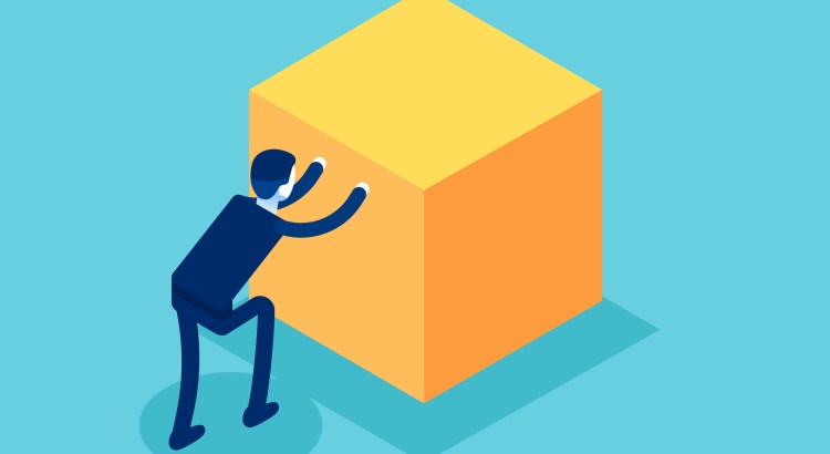Illustration of a cartoon person pushing a large yellow cube