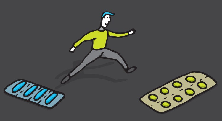 Illustration of a cartoon man jumping from one oversized blister pack of pills to another