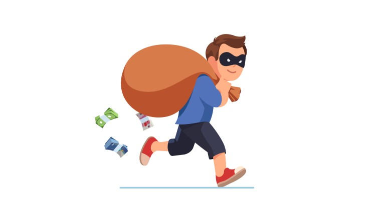 Illustration of a robber wearing a mask runs off with a bag of money