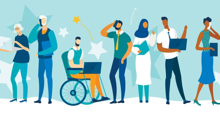 Illustration of a diverse group of people and health care workers