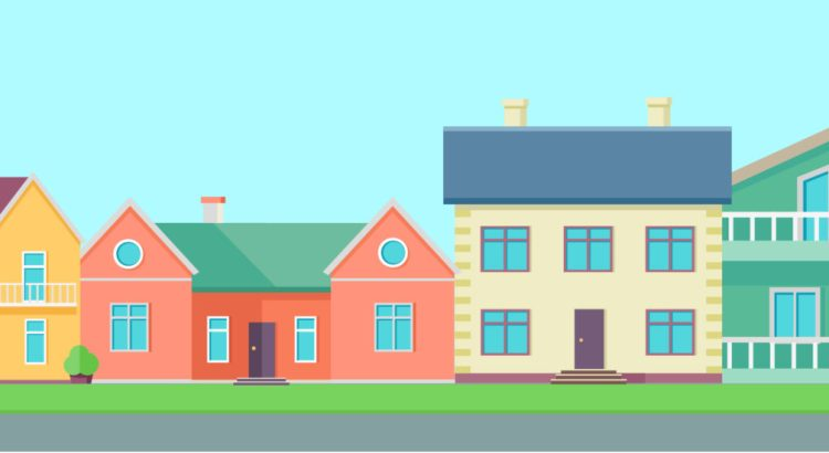 Illustration of a street lined with houses