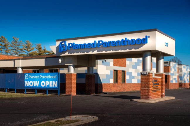 Fairview Heights, IL—Jan 5, 2020; Sign on medical clinic announces Planned Parenthood branch is now open, the southern Illinois clinic was built to serve St Louis after Missouri restricted abortions.