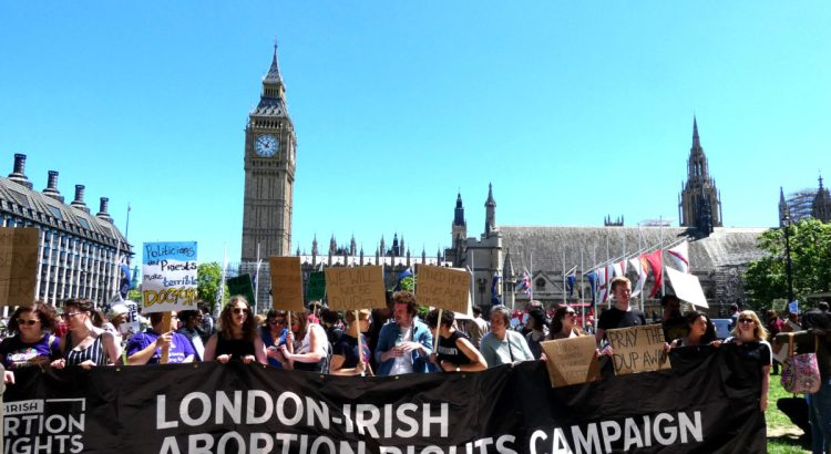 London.UK.June 10th 2017.Anti DUP demonstration takes place in Parliament Square.