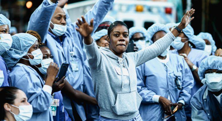 New York City, New York / USA - June 13 2020 New York City healthcare workers during coronavirus outbreak in America.
