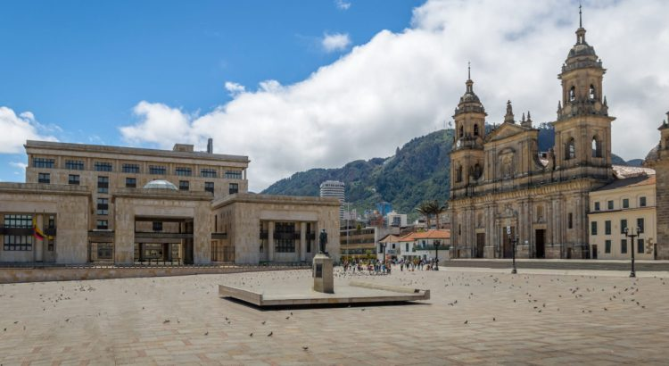 Bolivar Square with Cathedral and Colombian Palace of Justice - Bogota, Colombia.