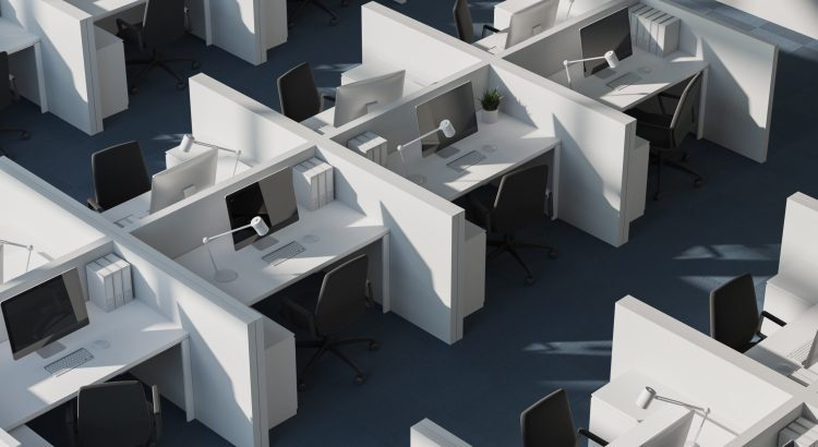 Top view of white cubicles in modern office with white walls and carpeted floor. 3d rendering.