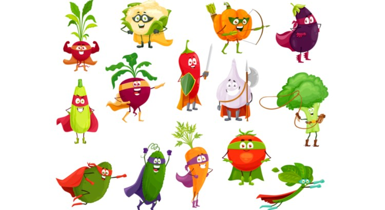 Vegetables super heroes, vector broccoli, squash and avocado, cauliflower and beetroot. Eggplant, chili pepper and pumpkin, spinach, carrot and tomato with cucumber, garlic and radish cartoon veggies.