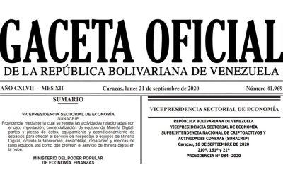 Publicada en Gaceta Oficial Providencia para la Regulación de la actividad de minería digital de criptomonedas