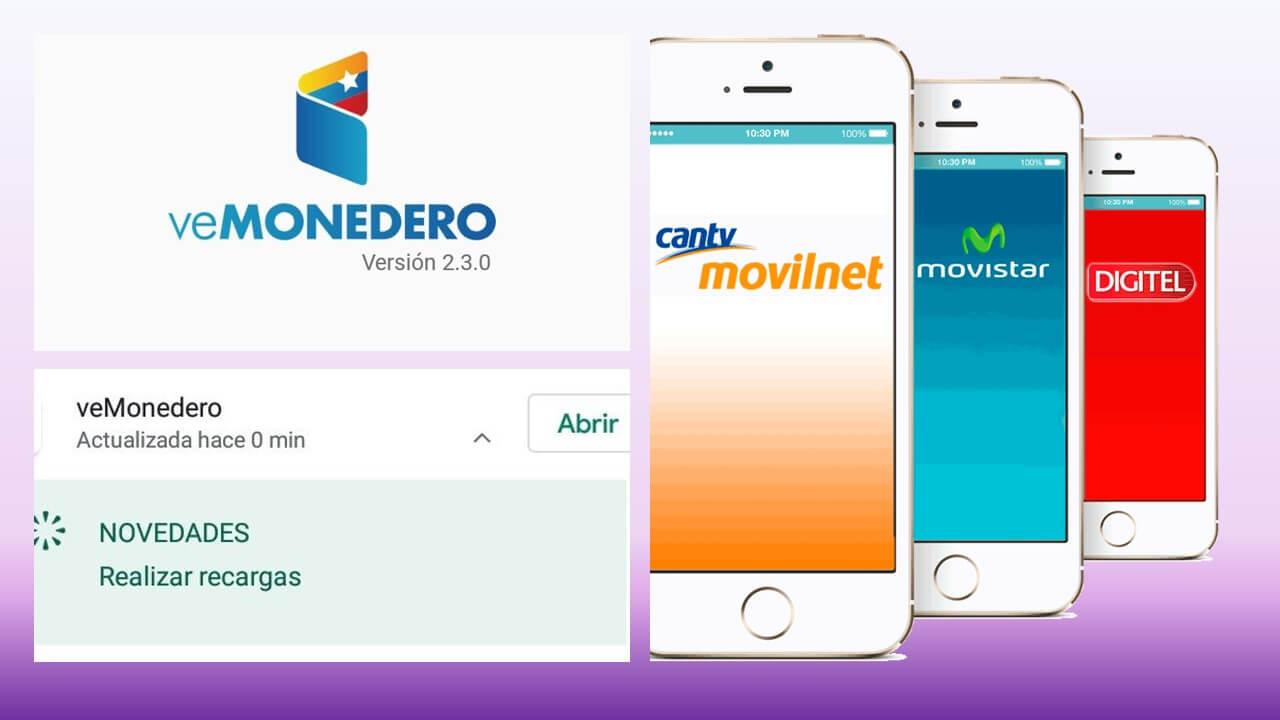 Recarga Movilnet Movistar Digitel a través de veMonedero Patria