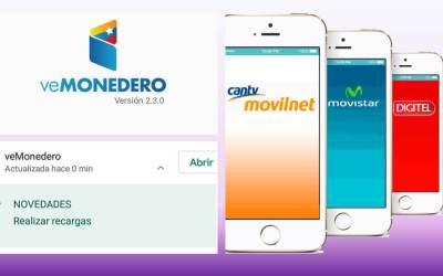 veMonedero activa recarga de saldo a teléfonos Movilnet, Movistar y Digitel (+ telefonía fija, televisión e internet)