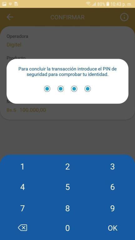 Validación con PIN de la Recarga de la aplicación veMonedero Patria