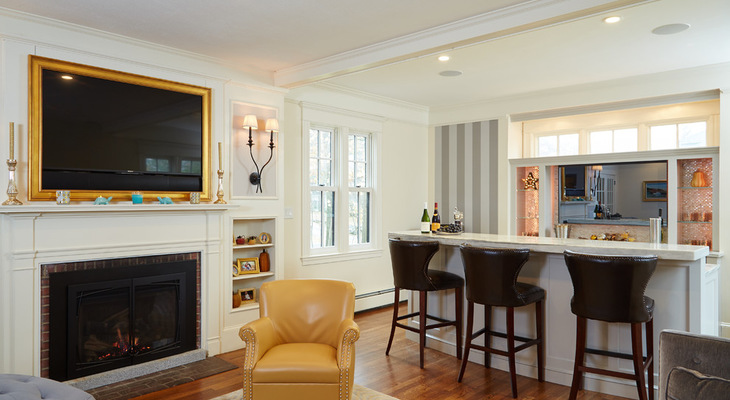 Room of the Day Raising a Bar Makes a Family Room Party