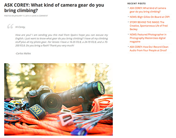 Action photographer Corey Rich keeps his blog up to date