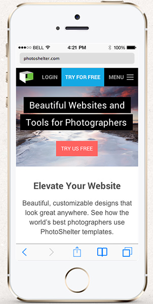The new PhotoShelter.com Homepage on an iPhone 5