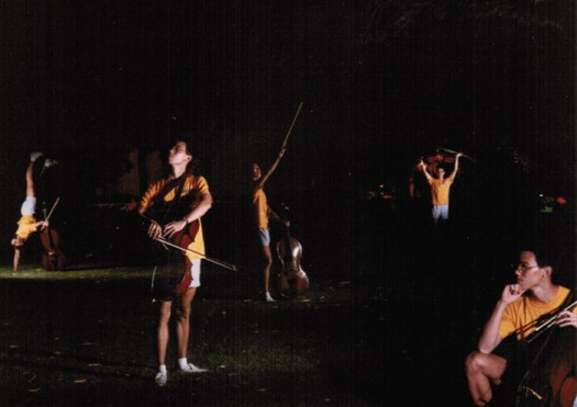 Long exposure with multiple flashes at cello camp in 9th grade.