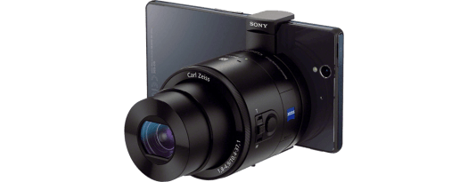 Sony QX100 attached to a phone