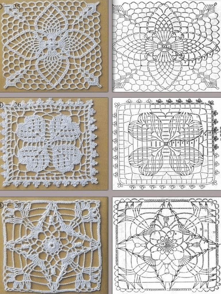 Uncinetto 3 piastrelle quadrate con schema