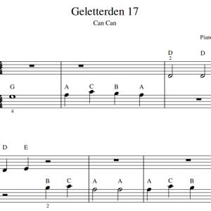 Bladmuziek PDF letters bij de muzieknoten