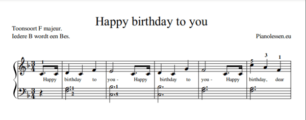 Happy birthday to you Music sheet PDF