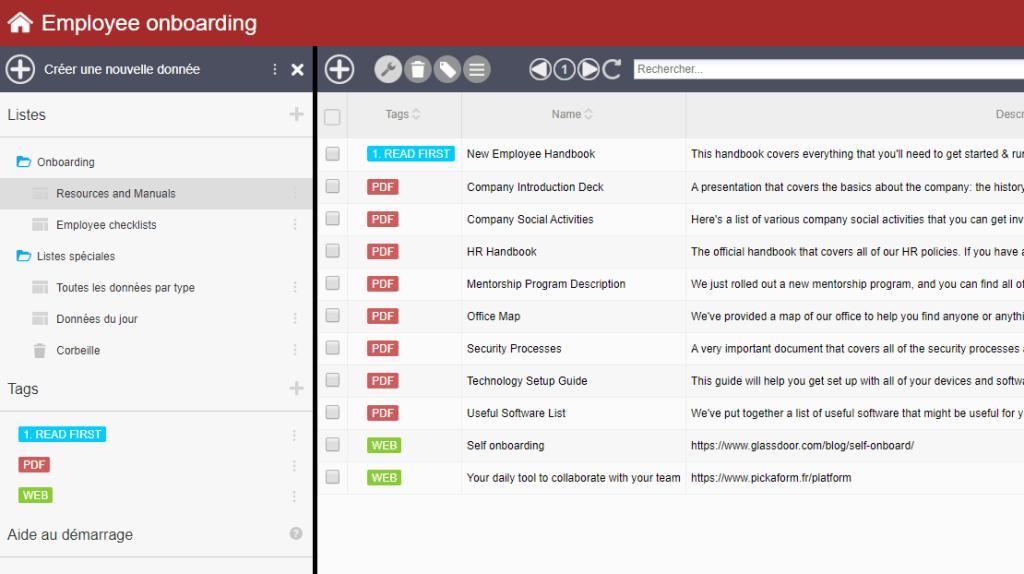 exemple d'application construite avec PickaForm sample application built with PickaForm app builder