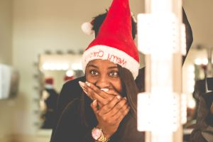 woman wearing a Santa hat