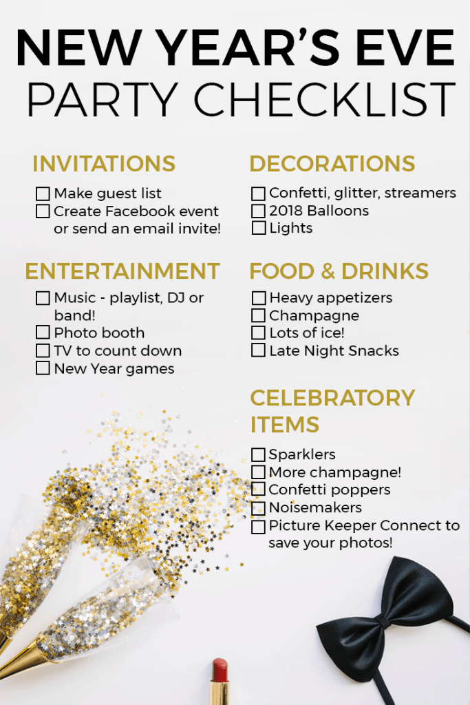 Printable New Year's Eve Party Checklist