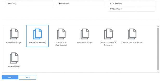 Azure Function External File input