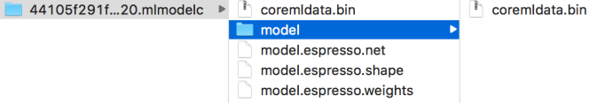 The resulting mlmodelc folder