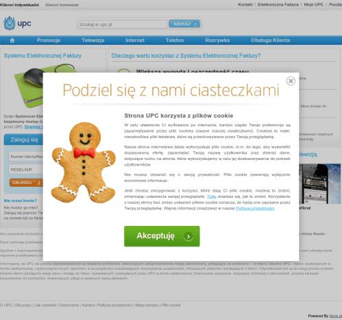 Ostrzeżenie o cookies na stronie UPC