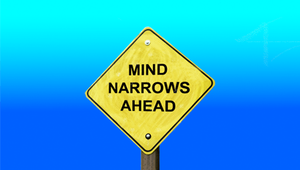 narrow mind road sign