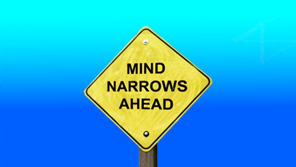 narrow mind road sign