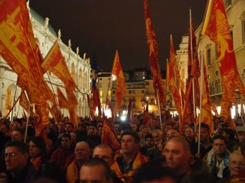 Vicenza, 11 aprile 2014. Plebiscito.eu organizza manifestazione di solidarietà ai Serenissimi
