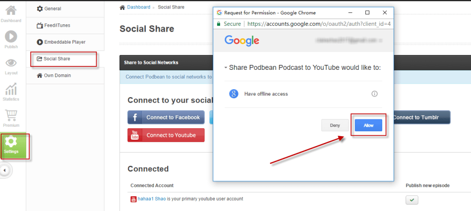 Allow Share to Youtube