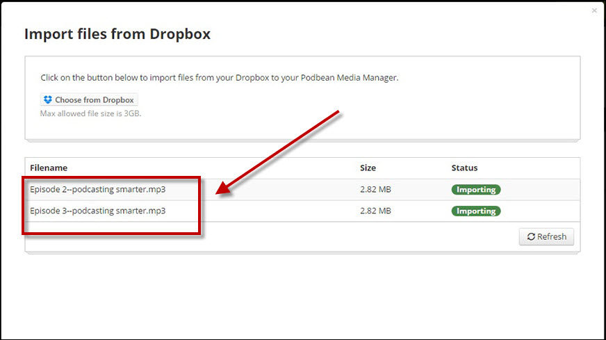 imported dropbox files